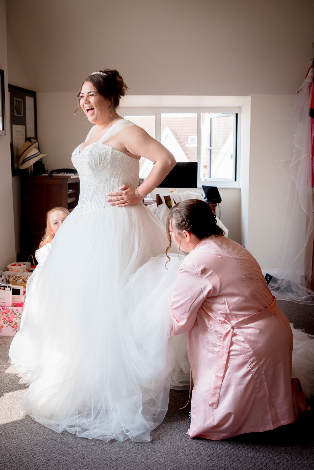 bride bridesmaids getting ready Essex Wedding Photographer Flowtography Weddings
